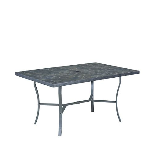 Stone Veneer Patio Dining Table with Slate Tile Top