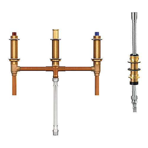 2-Handle 4-Hole Roman Tub Fixed Rough-In Valve with Shower Diverter - 1/2 inch CC Connection