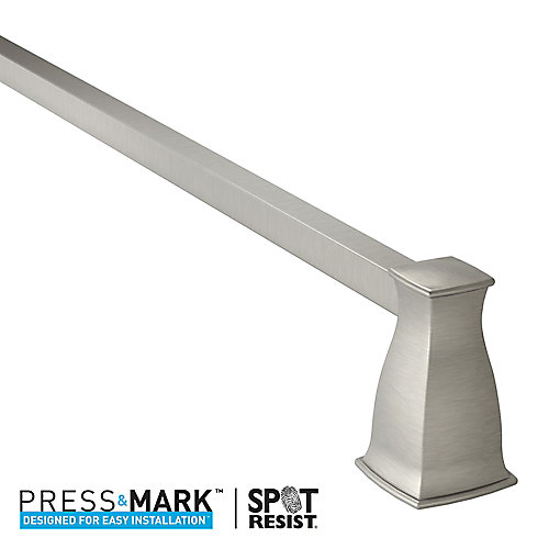 Hensley 24 Inch Towel Bar with Press and Mark in Brushed Nickel