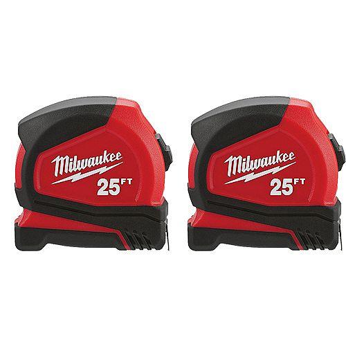 Milwaukee Tool Ruban à mesurer compact 25 pi (paquet de 2)