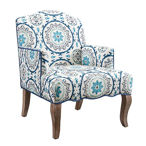 Flirty Traditional Bergère Polyester/Polyester Blend Accent Chair in Blue with Geometrical Pattern