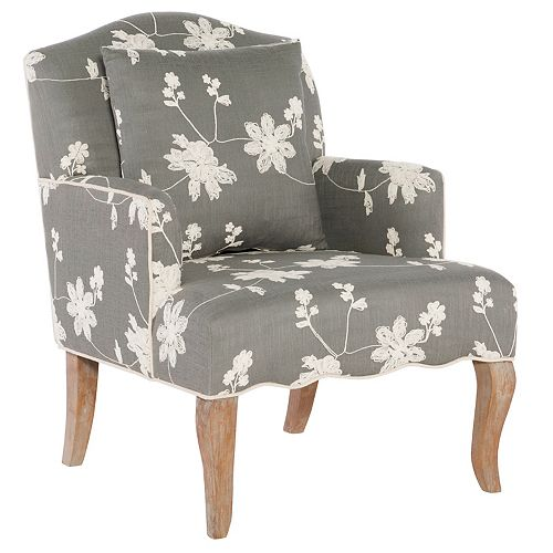 Traditional Bergère Polyester/Polyester Blend Accent Chair in Grey with Floral Pattern
