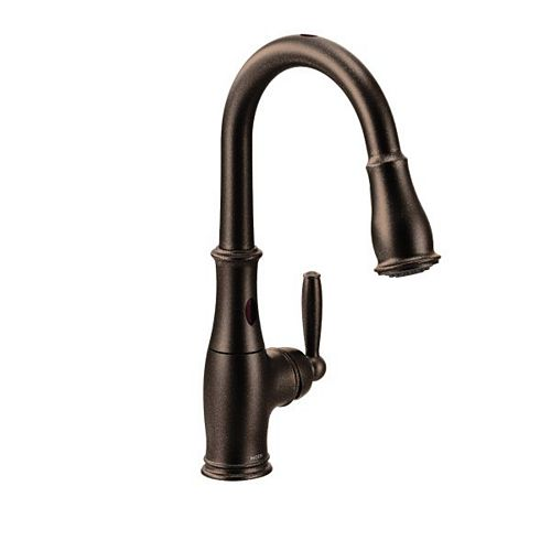 MOEN Brantford Single-Handle Pull-Down Sprayer Touchless Kitchen Faucet with MotionSense and Reflex in Oil Rubbed Bronze
