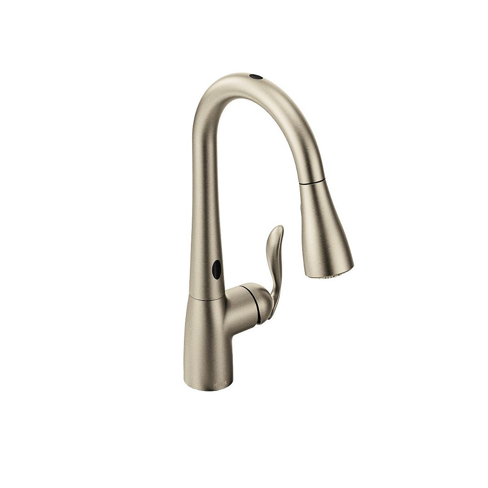 Moen Arbor Single Handle Pull Down Sprayer Touchless Kitchen Faucet With Motionsense In Sp The Home Depot Canada