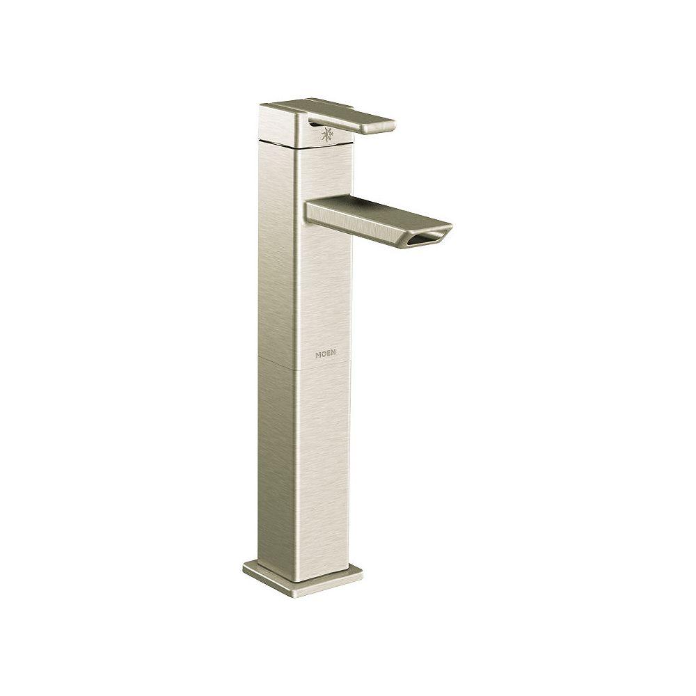 MOEN 90-Degree Single Hole Single Handle Low-Arc Bathroom Faucet in Brushed Nickel