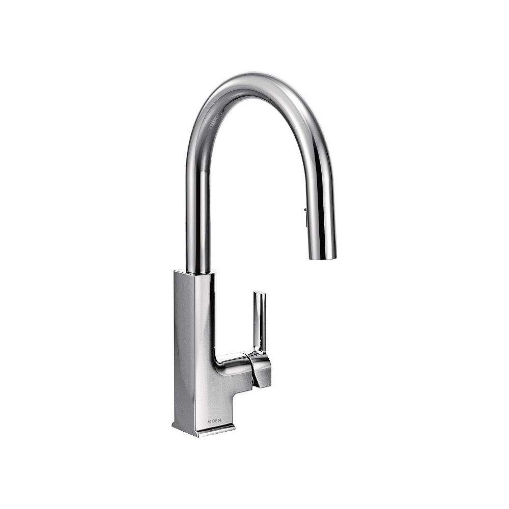 Moen Sto Single Handle Pull Down Sprayer Kitchen Faucet With Power Clean And Reflex In Chr The Home Depot Canada