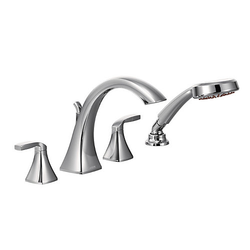Voss 2-Handle High-Arc Roman Tub Faucet Trim Kit with Hand Shower in Chrome (Valve Sold Separately)