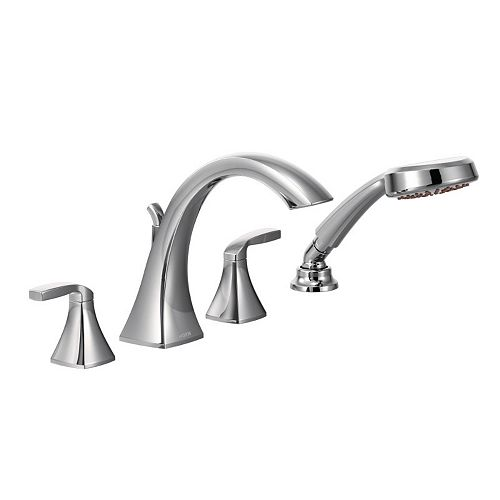 Voss 2-Handle High-Arc Roman Tub Faucet Trim Kit with Hand Shower in Chrome (Valve Not Included)