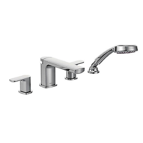 Rizon 2-Handle Roman Tub Faucet Trim Kit with Hand Shower in Chrome (Valve Sold Separately)
