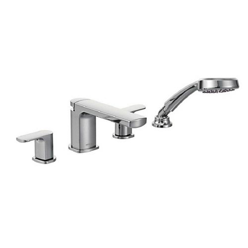 Rizon 2-Handle Deck-Mount Roman Tub Faucet Trim Kit with Handshower in Chrome (Valve Not Included)