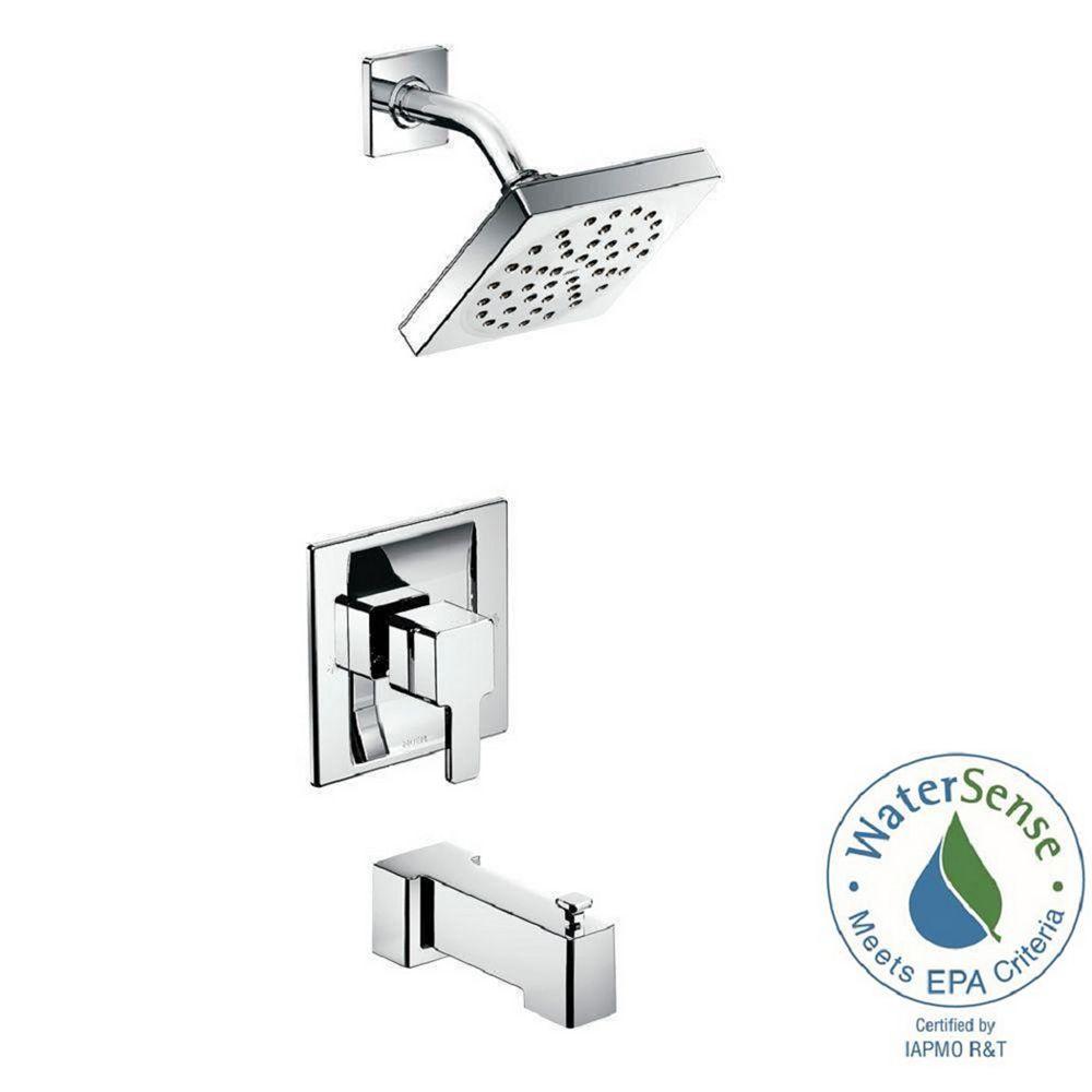 MOEN Kit de robinetterie de baignoire et de douche Posi-Temp 90 degrés à une poignée en chrome (robinetterie non comprise)