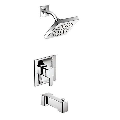 MOEN Kit de robinetterie de baignoire et de douche Moentrol 90 degrés à poignée unique et 1 jet en chrome (robinet non inclus)