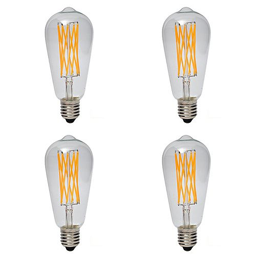 60W Equivalent Clear Filament 2200K ST64 600LM ES CRI90 Dimmable LED Light Bulb (4-Pack)