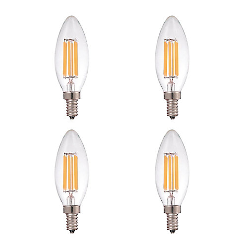 60W Equivalent Clear Filament 3000K Candlelabra E12 CRI90 ES Dimmable LED Light Bulb ENERGY STAR (4-Pack)