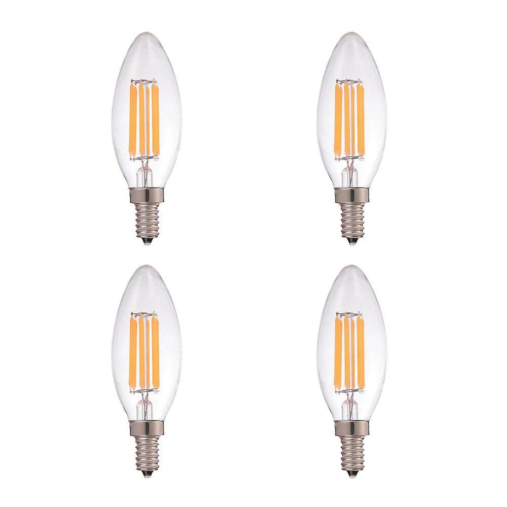 Strak LED 60W Equivalent Clear Filament 3000K Candlelabra E12 CRI90 ES Dimmable LED Light Bulb ENERGY STAR (4-Pack)