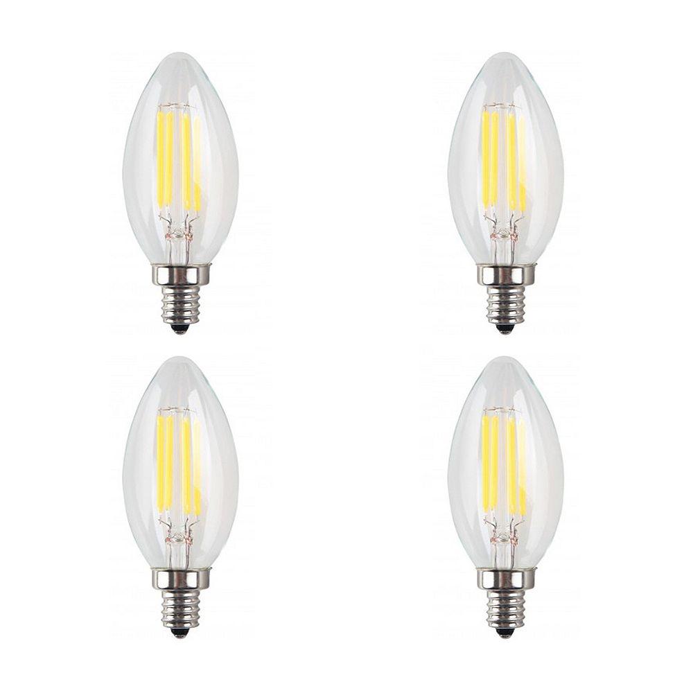 Strak LED 40W Equivalent Clear Filament 3000K Candlelabra E12 CRI90 ES Dimmable LED Light Bulb ENERGY STAR (4-Pack)