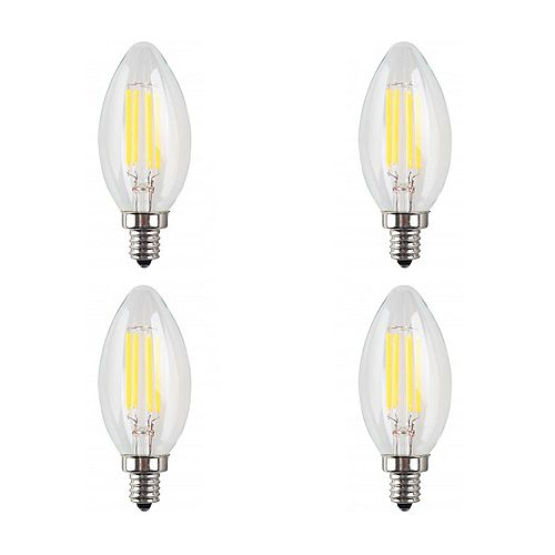 40W Equivalent Clear Filament 3000K Candlelabra E12 CRI90 ES Dimmable LED Light Bulb ENERGY STAR (4-Pack)