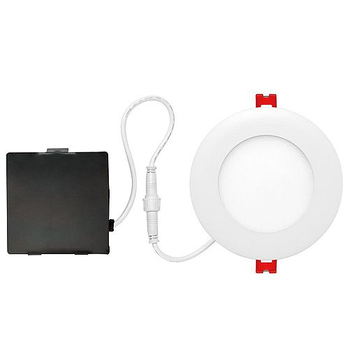 4-inch Integrated PURE White 6000K Dimmable LED Recessed Light Kit in White with Junction Box - ENERGY STAR