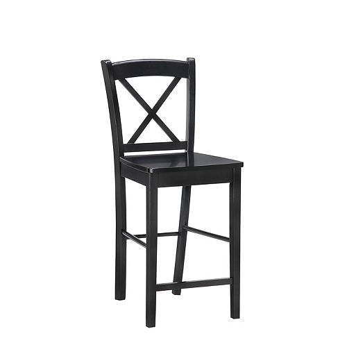 Solid Wood Black Traditional Full Back Armless Bar Stool with Black Solid Wood Seat