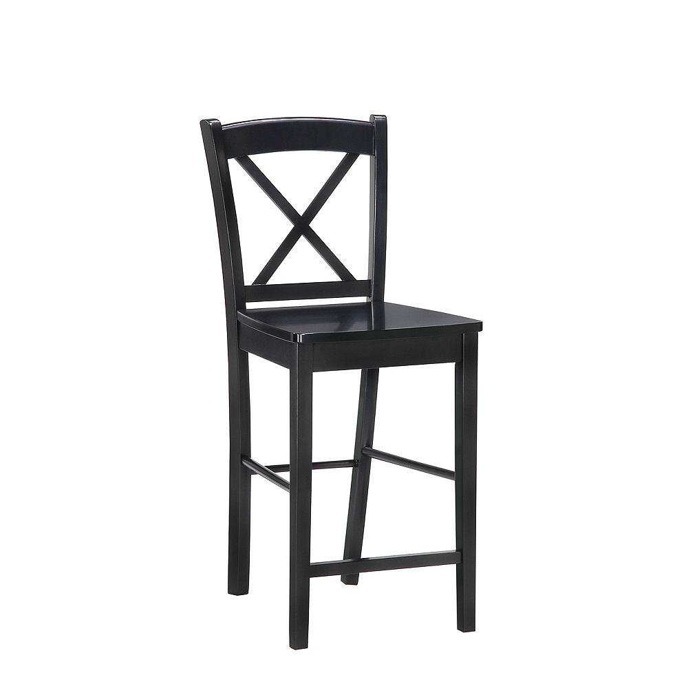 Linon Home Decor Solid Wood Black Traditional Full Back Armless Bar Stool with Black Solid Wood Seat