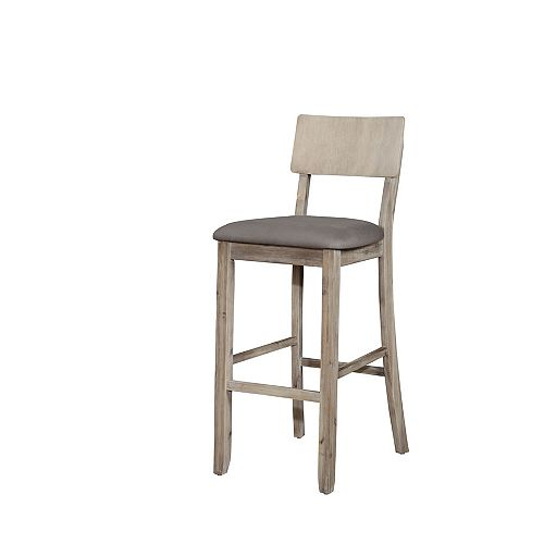 Solid Wood Grey Rustic Full Back Armless Bar Stool with Grey Linen Seat