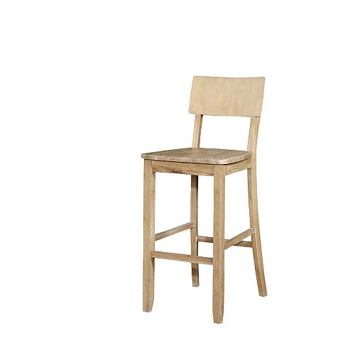 Solid Wood Natural Rustic Full Back Armless Bar Stool with Natural Wood Seat