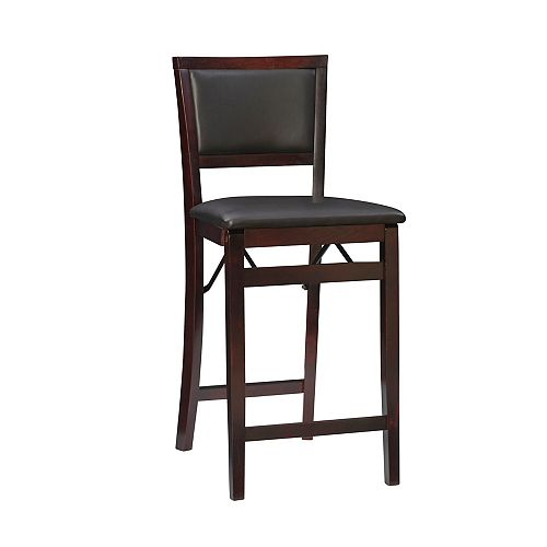 Padded Back Folding Counter Stool - Espresso
