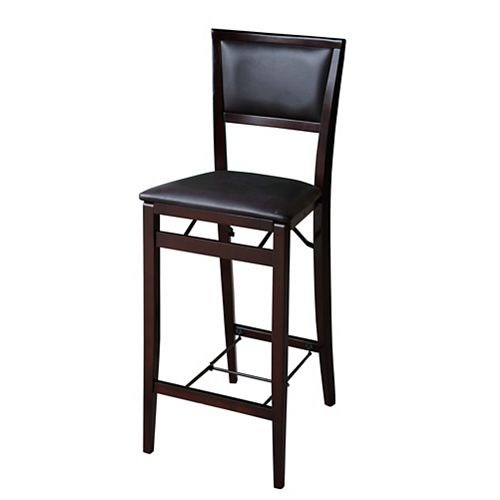Padded Back Folding Bar Stool - Espresso