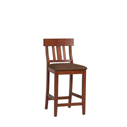Solid Wood Cherry Traditional Full Back Armless Bar Stool with Brown Fabric Seat