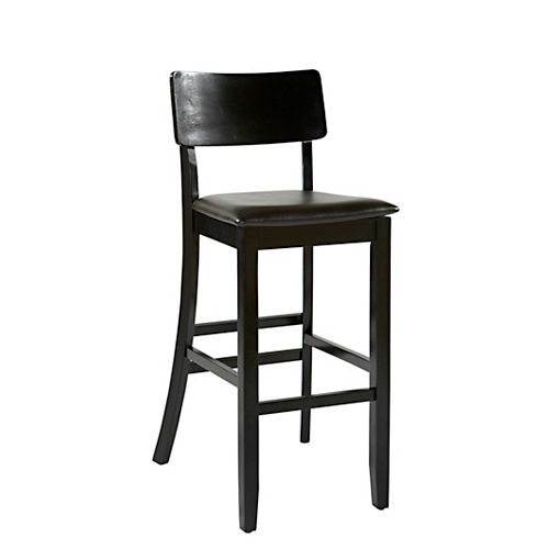 Manufactured Wood Black Modern Full Back Armless Bar Stool with Espresso Faux Leather Seat
