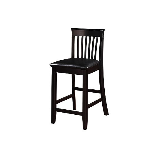 Linon Home Decor Craftsman Solid Wood Black Contemporary Full Back Armless Bar Stool with Black Faux Leather Seat