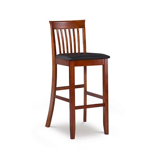 Craftsman Manufactured Wood Cherry Full Back Armless Bar Stool with Espresso Faux Leather Seat