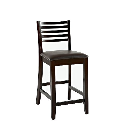 Ladder Back Manufactured Wood Espresso Full Back Armless Bar Stool with Espresso Faux Leather Seat