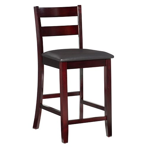 Soho Manufactured Wood Espresso Full Back Armless Bar Stool with Espresso Faux Leather Seat