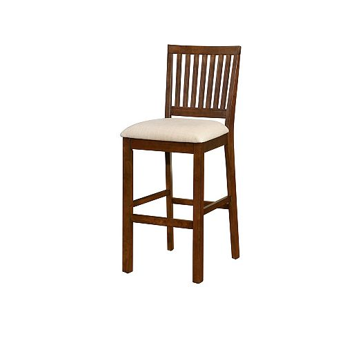 Barrett Solid Wood Walnut Contemporary Full Back Armless Bar Stool with Beige Faux Leather Seat