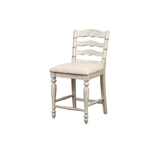 Marino Solid Wood White Country / Cottage Full Back Armless Bar Stool with Natural Linen Seat