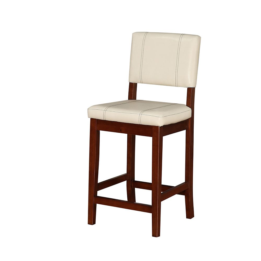 Linon Home Decor Solid Wood Walnut Contemporary Full Back Armless Bar Stool with Beige Faux Leather Seat