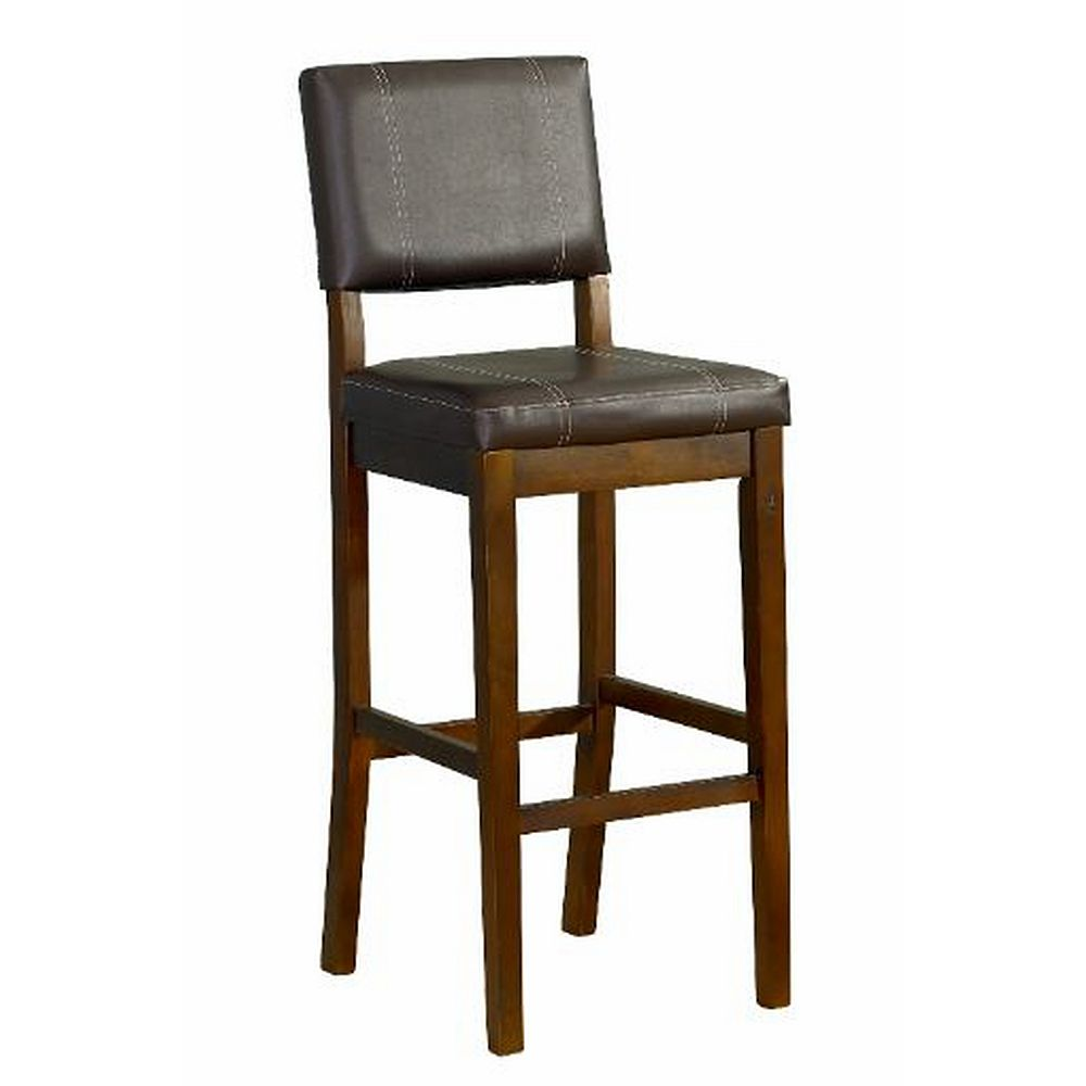 Linon Home Decor Solid Wood Walnut Contemporary Full Back Armless Bar Stool with Espresso Faux Leather Seat