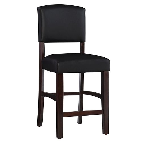 Solid Wood Espresso Traditional Full Back Armless Bar Stool with Espresso Faux Leather Seat