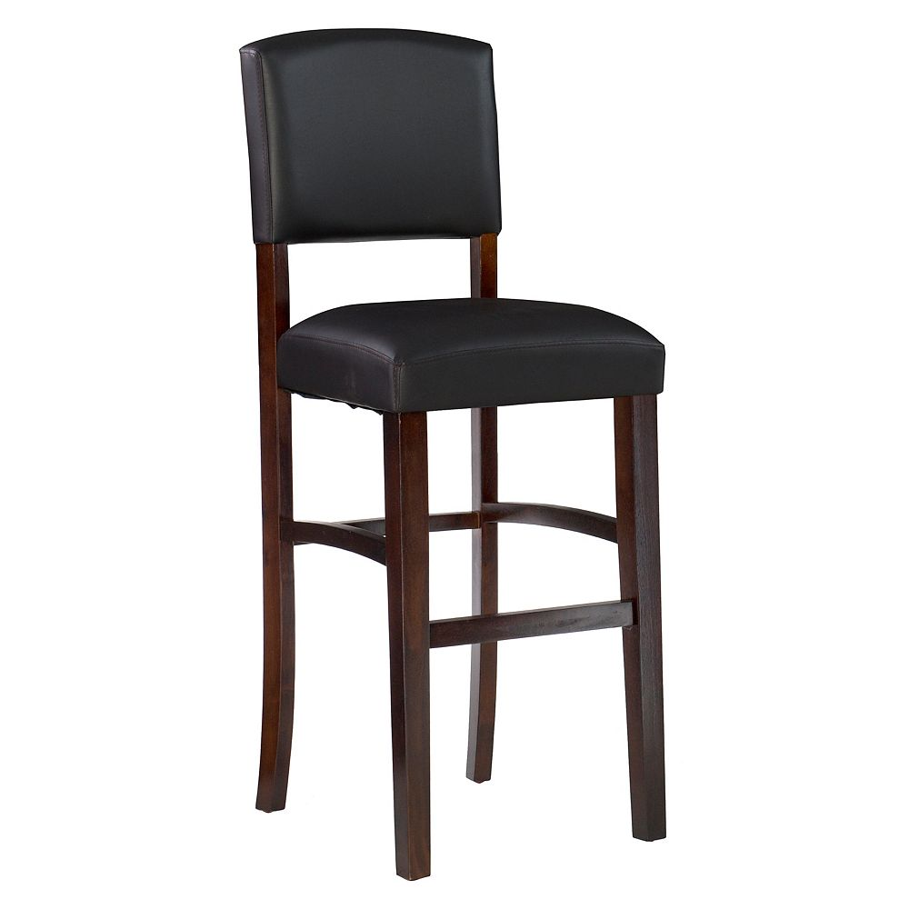 Linon Home Decor Solid Wood Espresso Traditional Full Back Armless Bar Stool with Espresso Faux Leather Seat