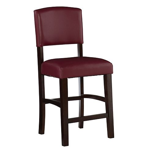 Solid Wood Espresso Traditional Full Back Armless Bar Stool with Red Faux Leather Seat