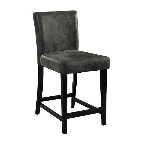 Linon Home Decor Manufactured Wood Black Contemporary Full Back Armless Bar Stool with Grey Microfibre Seat