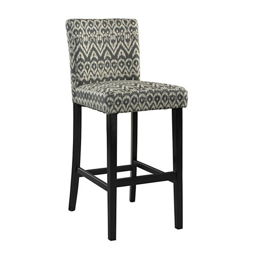 Linon Home Decor Manufactured Wood Black Contemporary Full Back Armless Bar Stool with Grey Polyester/Polyester Blend Seat