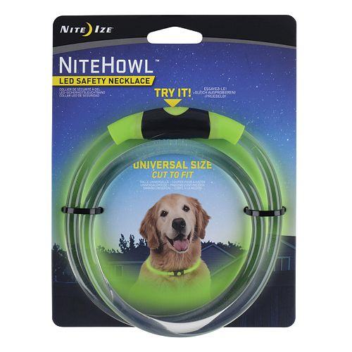 NiteHowl LED Safety Necklace, Universal, Reusable Visibility Necklace for Pets, Green