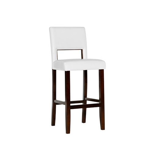 Solid Wood Espresso Traditional Full Back Armless Bar Stool with White Faux Leather Seat