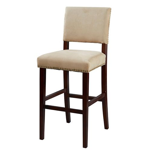 Corey Manufactured Wood Brown Contemporary Full Back Armless Bar Stool with Beige Microfibre Seat