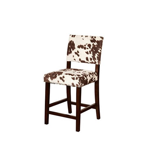 Linon Home Decor Corey Manufactured Wood Brown Contemporary Full Back Armless Bar Stool with Brown Microfibre Seat