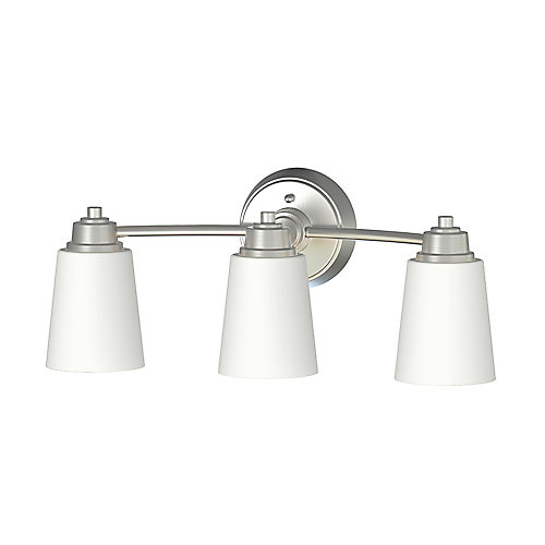 Marchelle Collection 3-Light Integrated LED Bathroom Vanity Light Fixture in Brushed Nickel