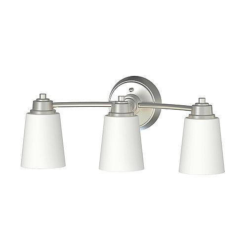 Home Decorators Collection Marchelle Collection 3-Light Integrated LED Bathroom Vanity Light Fixture in Brushed Nickel