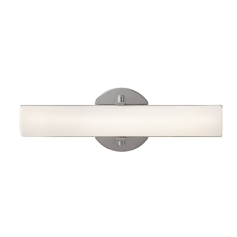 Hampton Bay 1 Light Polished Chrome Integrated Led Vanity Light With Frosted White Shade The Home Depot Canada